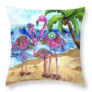 The Flamingo Family's Day At The Beach Throw Pillow