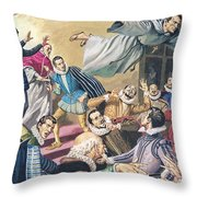 The Flight Of Father Dominic Throw Pillow by English School