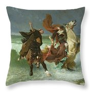 The Flight Of Gradlon Mawr Throw Pillow