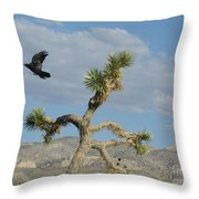 The Flight Of Raven. Lucerne Valley. Throw Pillow