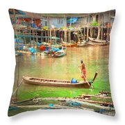 The Floating Village Throw Pillow