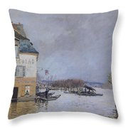 The Flood At Port Marly Throw Pillow by Alfred Sisley