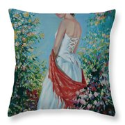 The Florist In A Red Kerchief Throw Pillow