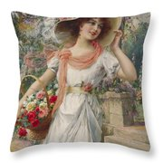 The Flower Girl Throw Pillow by Emile Vernon