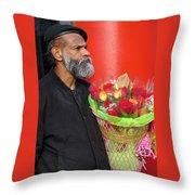The Flower Vendor - Man Selling Roses Throw Pillow
