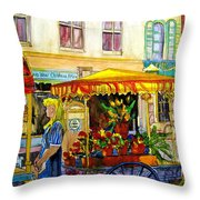 The Flowercart Throw Pillow