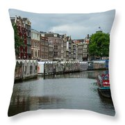 The Flowermarket Canal Throw Pillow