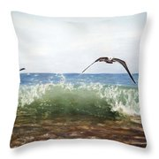 The Flying Instant Of Surf Throw Pillow