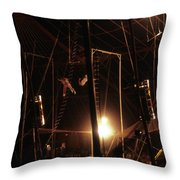 The Flying Trapeze 1980s Circus Throw Pillow