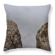 The Fog Through The Rocks Throw Pillow