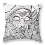 The Fool The King Original Black And White Pen Art By Rune Larsen Throw Pillow