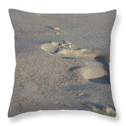 The Footprint Of Invisible Man On The Sand Throw Pillow