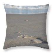 The Footprint Of Invisible Man The Sand And The Sea Throw Pillow