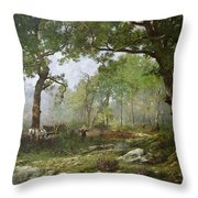 The Forest Of Fontainebleau Throw Pillow by Leon Richet
