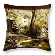 The Forgotten Watermill Wheel Throw Pillow