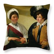 The Fortune Teller Throw Pillow by Michelangelo Merisi da Caravaggio