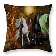 The Four Horses Of The Apocalypse Throw Pillow