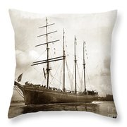 The Four-masted Barkentine  Jane Stanford Built By Hans Bendixse 1892 Throw Pillow