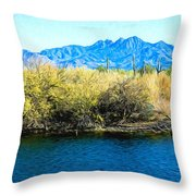The Four Peaks From Saguaro Lake Throw Pillow