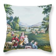 The Four Seasons Of Life Childhood Throw Pillow by Currier and Ives
