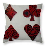 The Four Suits Throw Pillow