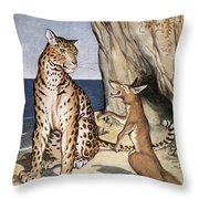 The Fox And The Leopard Throw Pillow