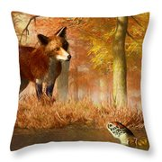 The Fox And The Turtle Throw Pillow