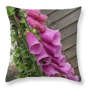 The Foxglove And The Bumble Bees Throw Pillow