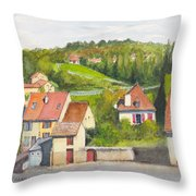 The French Village Of Billy In The Auvergne Throw Pillow