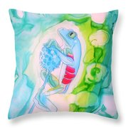 The Frog And Flower Throw Pillow