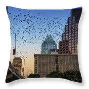 The Frost Bank Tower Stands Guard As 1.5 Million Mexican Free-tail Bats Overtake The Austin Skyline As They Exit The Congress Avenue Bridge Throw Pillow