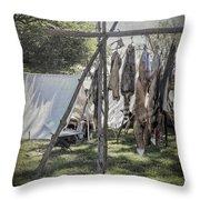 The Fur Trader's Camp 1812 Throw Pillow