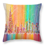 The Future City Abstract Painting  Throw Pillow by Julia Apostolova