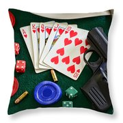 The Gambler Throw Pillow by Paul Ward