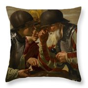 The Gamblers Throw Pillow by Hendrick Ter Brugghen