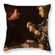The Gamblers Throw Pillow by Michelangelo Caravaggio