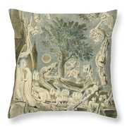 The Gambols Of Ghosts According With Their Affections Previous To The Final Judgement Throw Pillow
