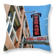 The Garage Pub Throw Pillow