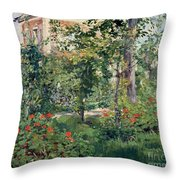 The Garden At Bellevue Throw Pillow by Edouard Manet