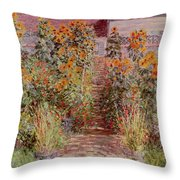 The Garden At Vetheuil Throw Pillow by Claude Monet