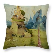 The Garden Of Earthly Delights, Detail Of Left Panel Showing Paradise Throw Pillow