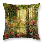 The Garden Of Enchantment Throw Pillow by Thomas Edwin Mostyn