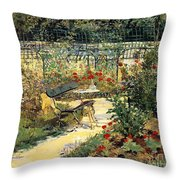 The Garden Of Manet Throw Pillow