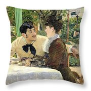 The Garden Of Pere Lathuille Throw Pillow by Edouard Manet