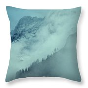 The Garden Wall Veiled By Clouds Throw Pillow