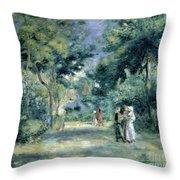The Gardens In Montmartre Throw Pillow by Pierre Auguste Renoir