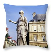 The Gardens Of Luxembourg Palace, Paris Throw Pillow
