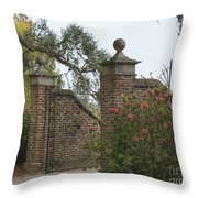 The Gate At Boone Hall Throw Pillow