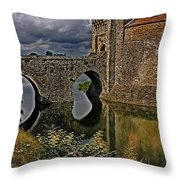 The Gatehouse And Moat At Leeds Castle Throw Pillow