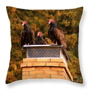 The Gathering Of Vultures Throw Pillow